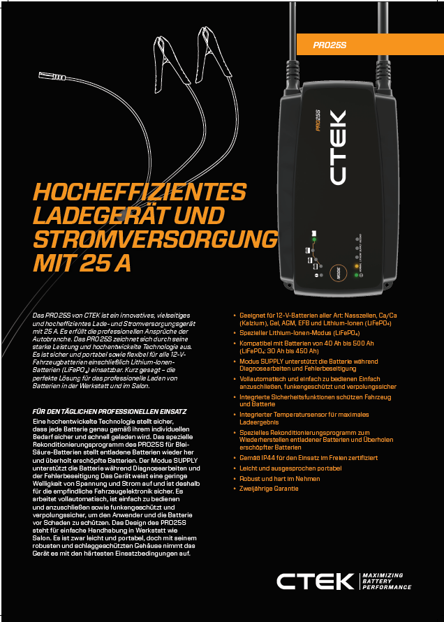 CTEK Ladegerät PRO25S | SÜDO Fahrzeugteile Austria